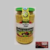 Malidżano-pasta z pieczonych bakłażanów Macedońska pasta warzywna pieczonych bakłażanów. Malidzano jest zwykle podawane jako przystawka wraz z chlebem, ale pasuje również do grillowanych i pieczonych mięs. 100% naturalny Składniki: bakłażany, papryka, czosnek, olej, cukier, ocet. Produkt zawiera tylko naturalne składniki, nie zawiera środków chemicznych i substancji konserwujących.